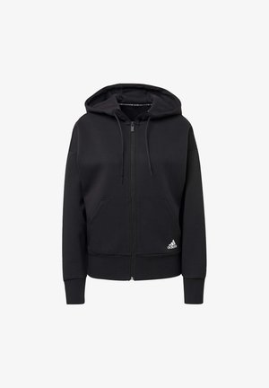 3-STRIPES DOUBLEKNIT FULL-ZIP SCUBA HOODIE - Hettejakke - black