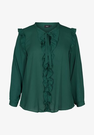 WITH RUFFLES - Blouse - dark green