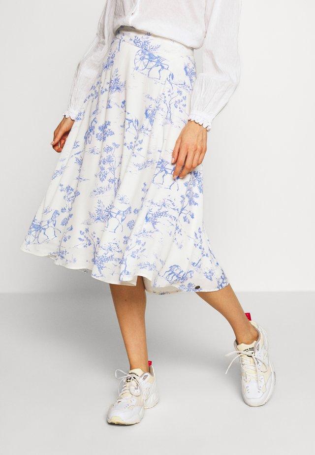 NUARIZILLA SKIRT - Jupe trapèze - blue/off-white