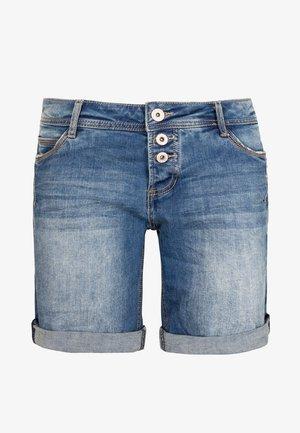 BERMUDA MIT AUFSCHLAG - Denim shorts - middle-blue