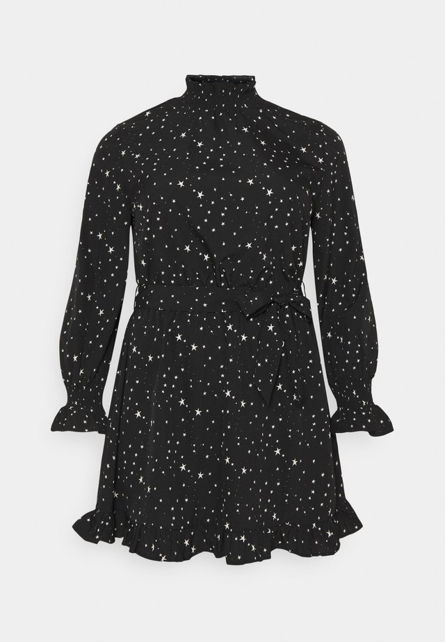 HIGH NECK TIE WAIST FRILL SKATER DRESS - Korte jurk - black
