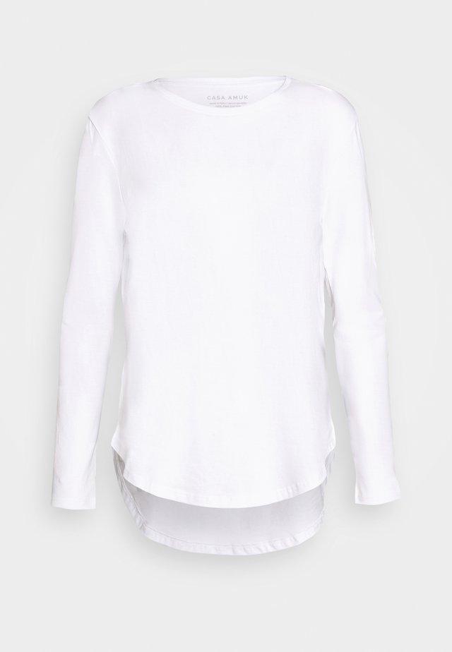LONG SLEEVE SADDLE HEM - Bluzka z długim rękawem - white