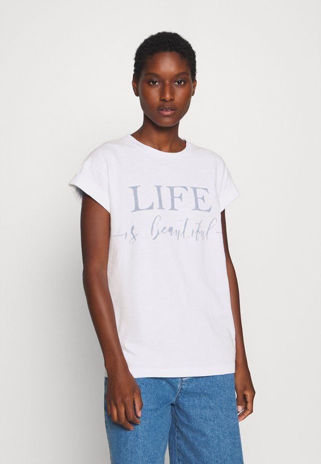 LIFE IT BEAUTIFUL - Print T-shirt - white