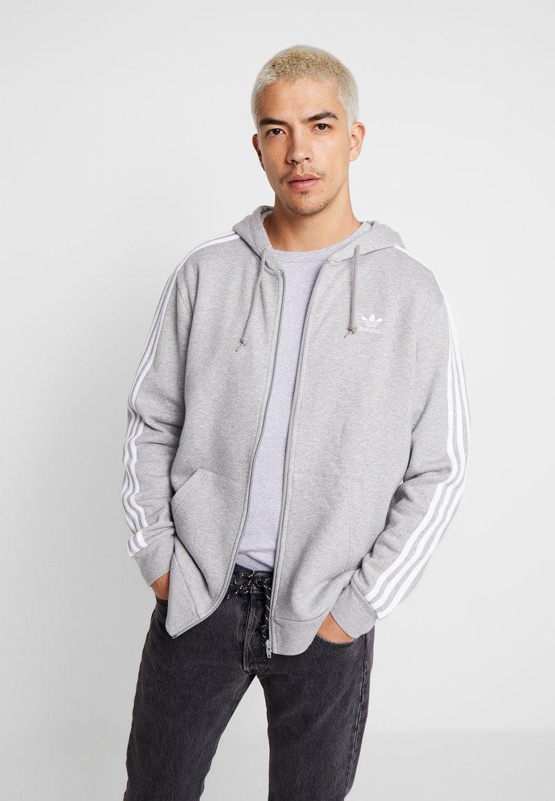 adidas Originals - STRIPES UNISEX - Zip-up hoodie - medium grey heather