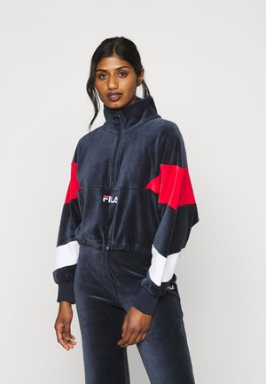 BELLINI CROPPED HALF ZIP - Mikina - black iris/true red/bright white