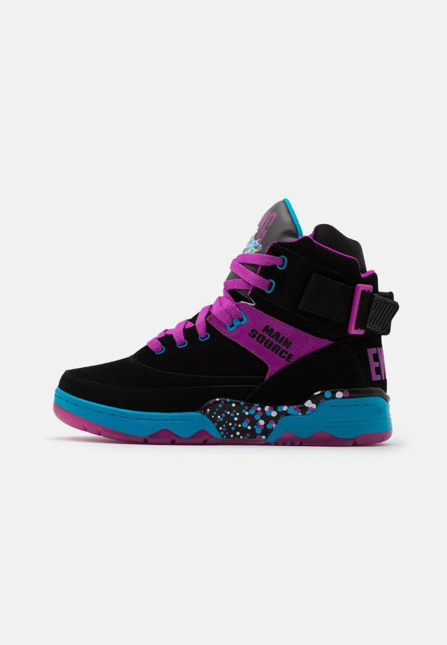 33 X MAIN SOURCE - Sneakersy wysokie - black/purple cactus flower/atomic blue
