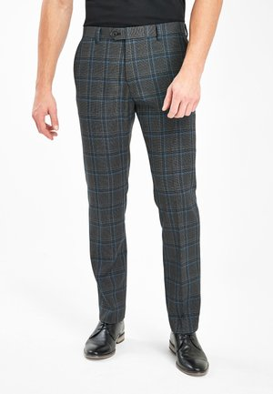 GREY/BLUE SLIM FIT CHECK TROUSERS - Pantalon classique - grey