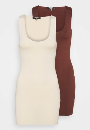 RAW EDGE SLINKY RACER MINI DRESS 2 PACK - Vestido ligero - sand/chocolate