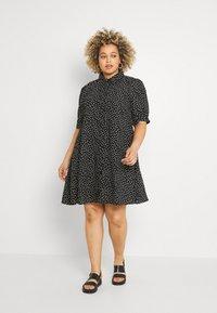 Glamorous Curve - MINI DRESS WITH COLLAR - Shirt dress - black - 0