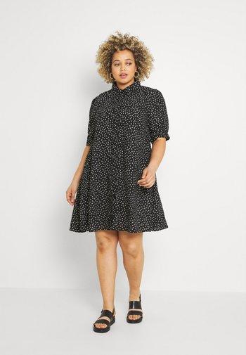 MINI DRESS WITH COLLAR - Shirt dress - black