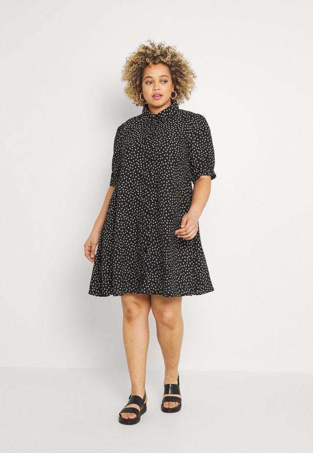 MINI DRESS WITH COLLAR - Košilové šaty - black