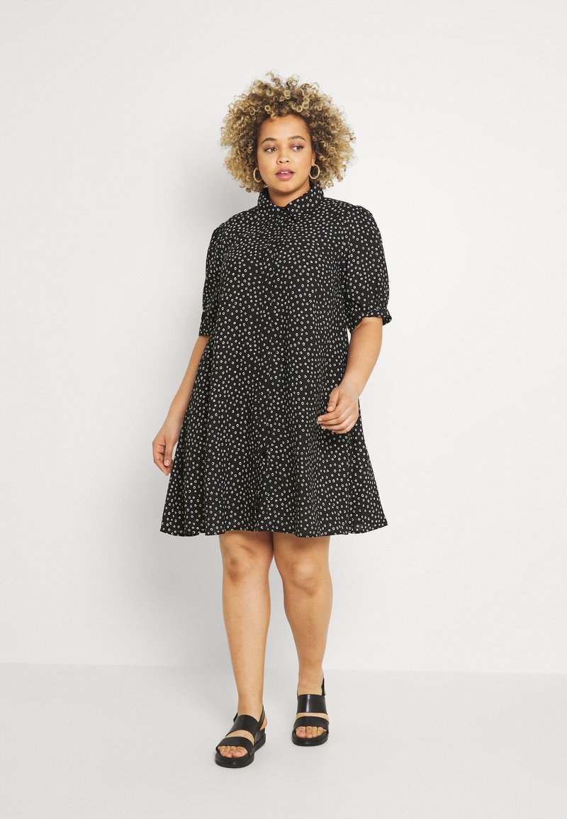 Glamorous Curve - MINI DRESS WITH COLLAR - Shirt dress - black