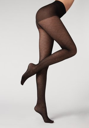 Tights - black cashmere openwork diamonds