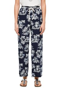 s.Oliver - ALLOVER-PRINT - Trousers - dark blue aop palms - 0