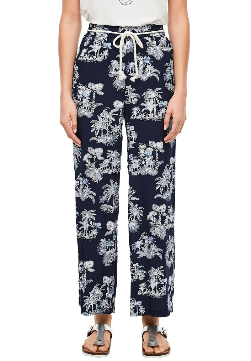 s.Oliver - ALLOVER-PRINT - Trousers - dark blue aop palms