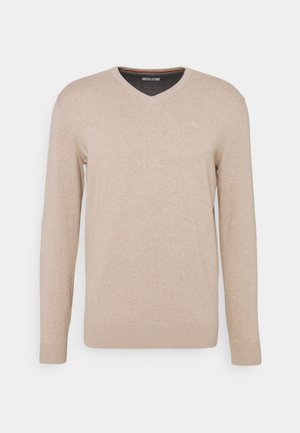 BASIC V NECK SWEATER - Sweter - beige dark melange