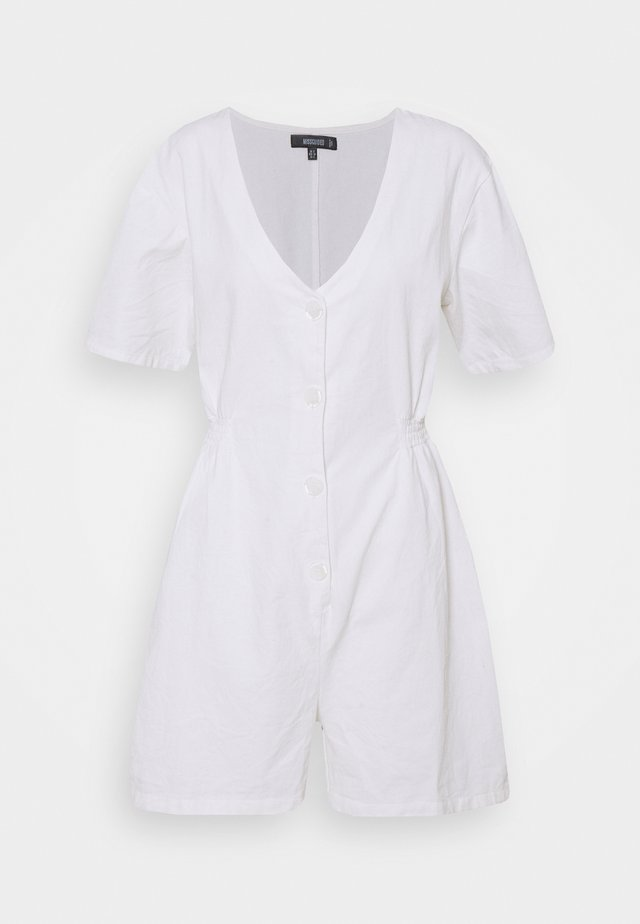 CINCHED SIDE BUTTON FRONT PLAYSUIT - Jumpsuit - white