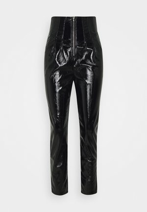 CRACKED CORSET CIGARETTE TROUSER - Pantalones - black