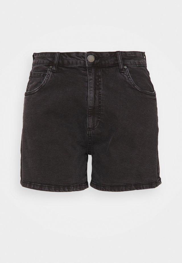 HIGH WAISTED - Jeansshorts - stonewash black