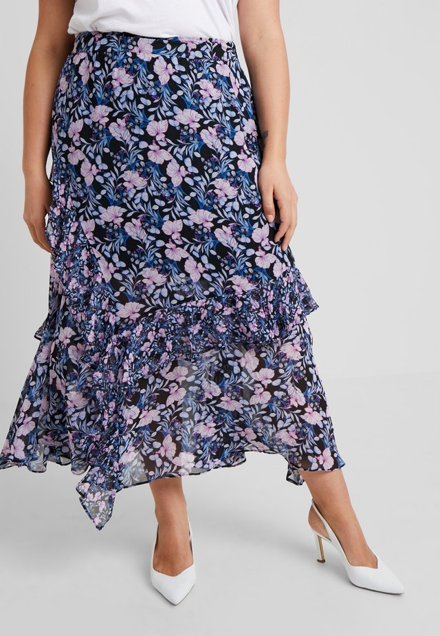 TIERED RUFFLE CHARMING FLORAL SKIRT - Jupe longue - classic navy