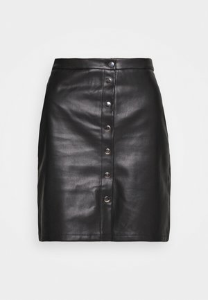 VIPEN BUTTON COATED SKIRT - Mini skirt - black