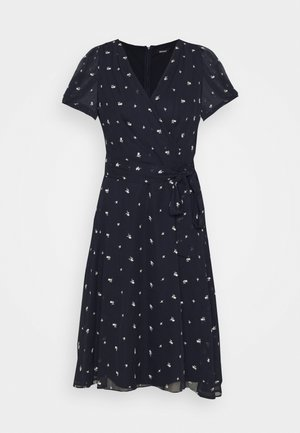 KNOT PUFF SLEEVE NECK DRESS - Day dress - navy/cream