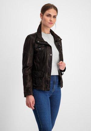 MELVINA - Leather jacket - dunkelbraun