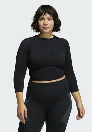 FORMOTION CROPPED TRAINING T-SHIRT (PLUS SIZE) - Long sleeved top - black