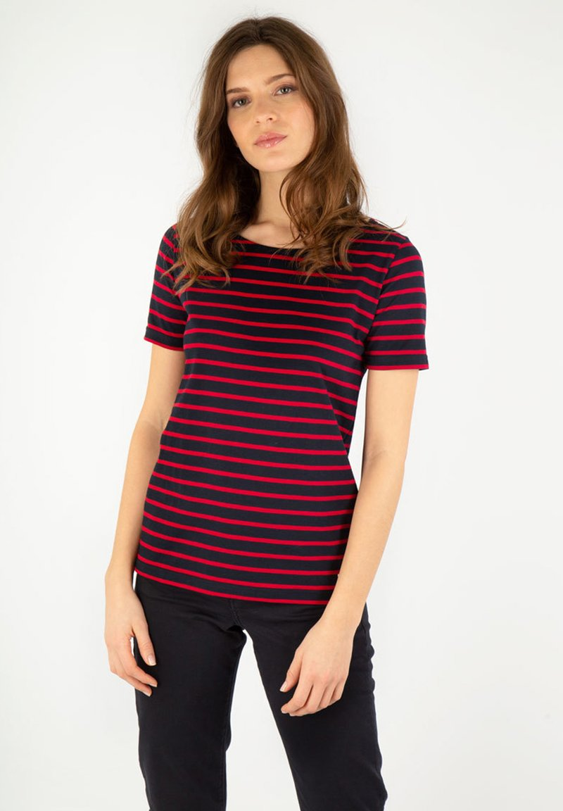 Armor lux - HOËDIC MARINIÈRE - Print T-shirt - rich navy/braise