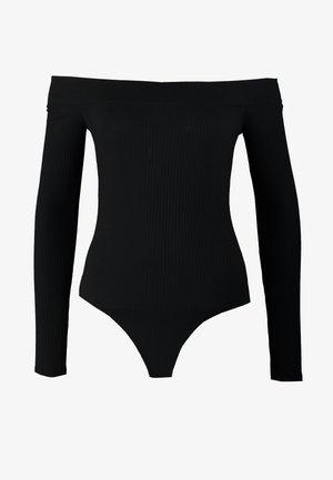 COZY WRAP BODYSUIT - Top sdlouhým rukávem - black