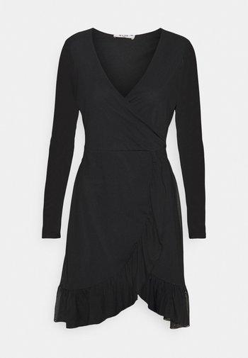 WRAP TIE DRESS - Freizeitkleid - black