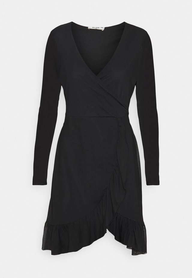 WRAP TIE DRESS - Korte jurk - black