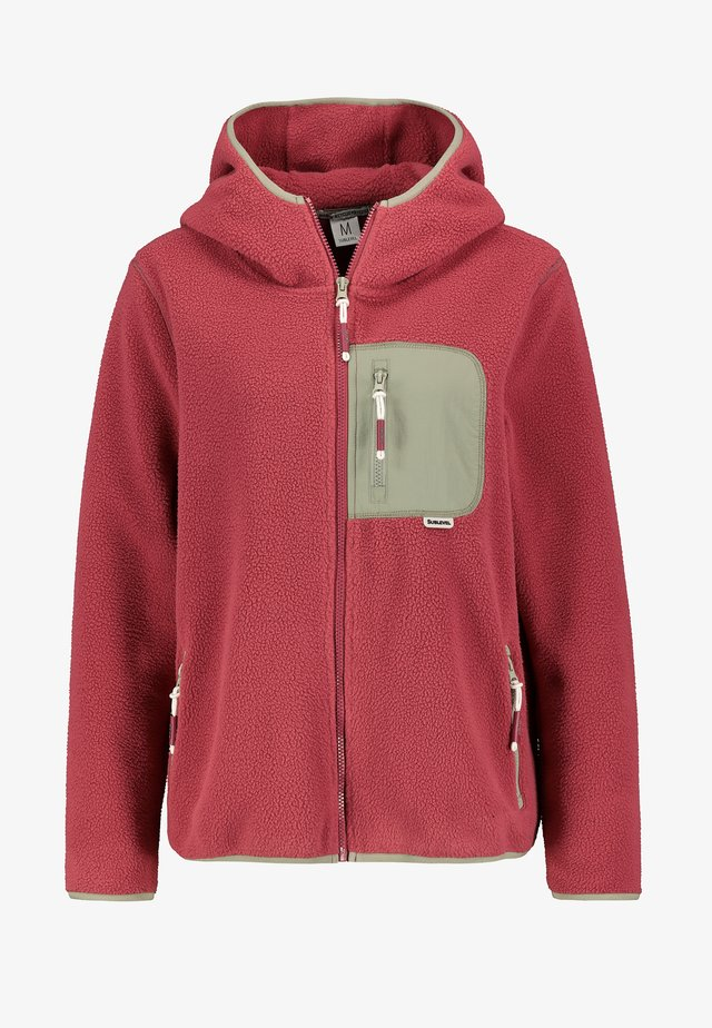 FLEECEJACKE MIT BRUSTTASCHE - Fleece jacket - middle-red