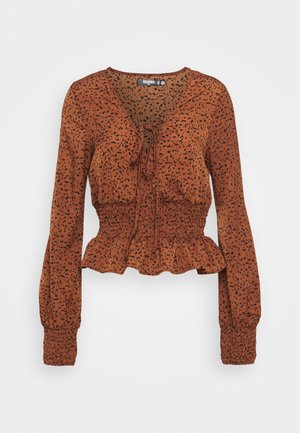 TIE FRONT BLOUSE - Long sleeved top - brown