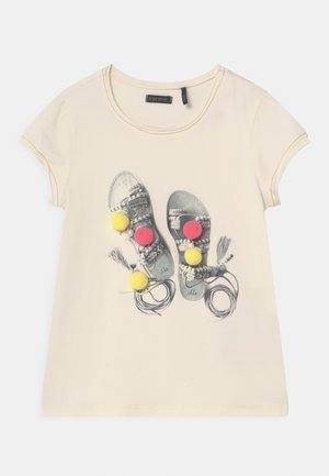 T-shirt med print - ecru