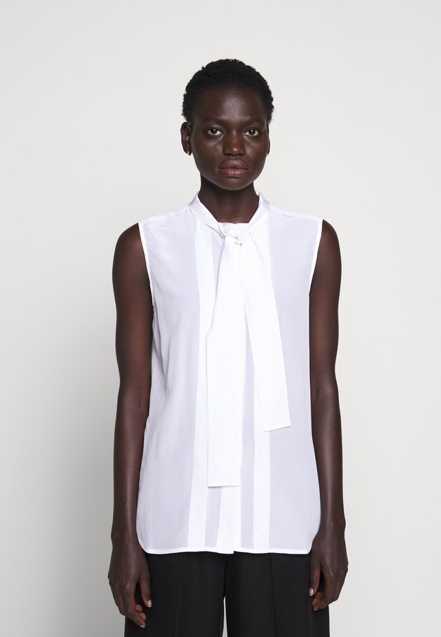 SLEEVELESS TIE NECK - Pusero - white