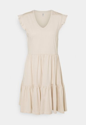ONLMAY LIFE CAP SLEEVES FRILL DRESS - Jersey dress - pumice stone