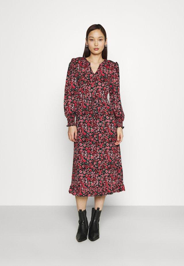 ONLPELLA MIDI DRESS  - Sukienka letnia - black/shore flowers pink