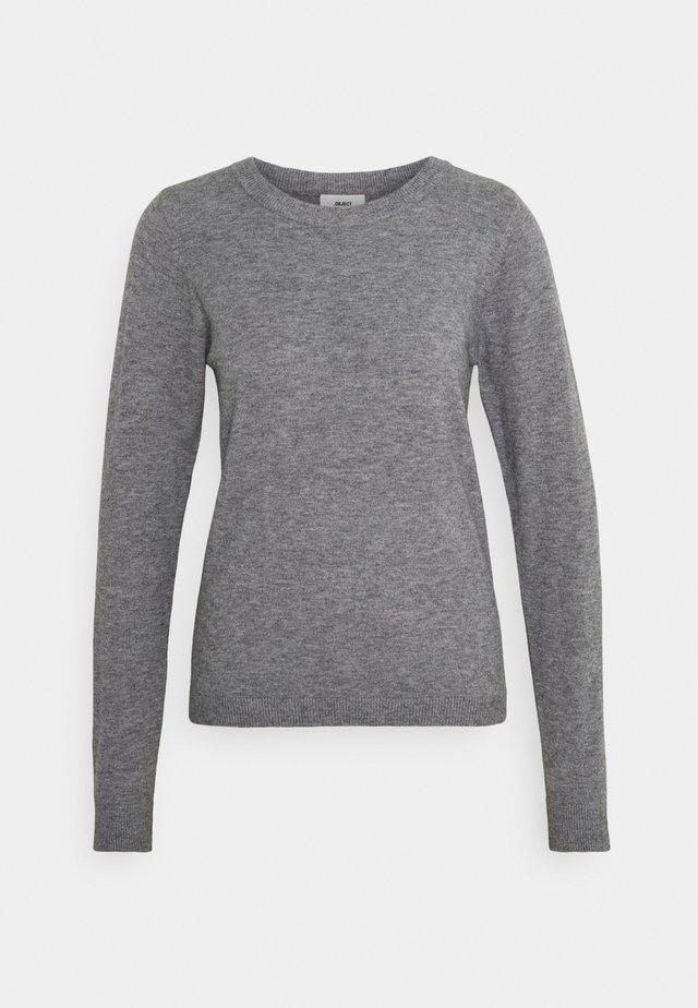 OBJTHESS O NECK  - Sweter - medium grey melange