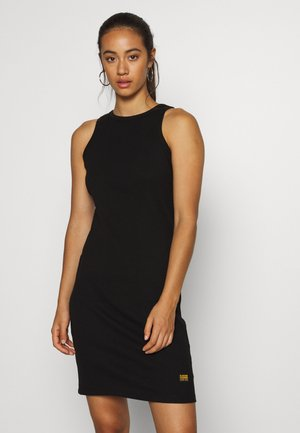 RIB TANK DRESS SLIM R WMN SLS - Žerzejové šaty - black