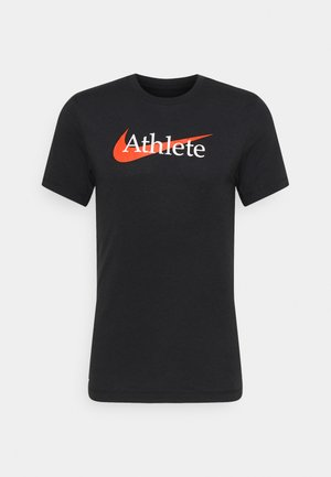 TEE ATHLETE - T-shirts med print - black/team orange