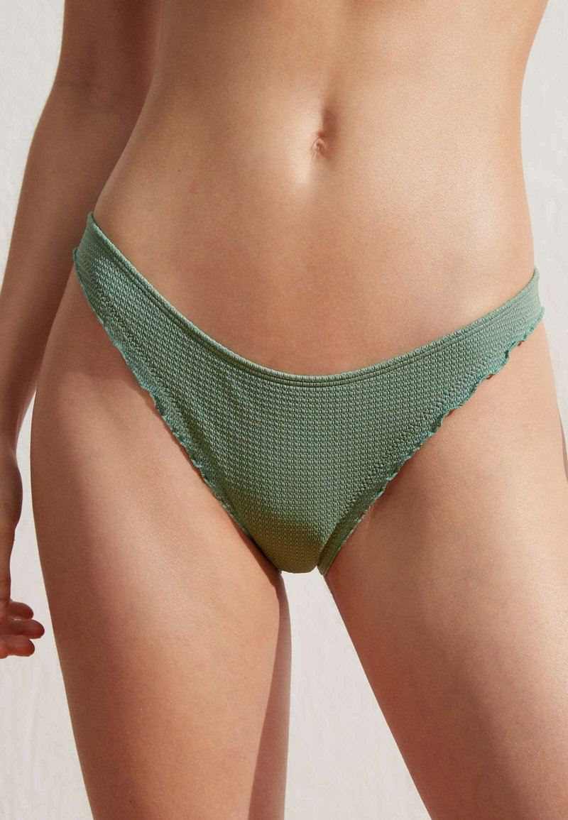 OYSHO - SEAMLESS CURLY CLASSIC  - Bikini bottoms - green
