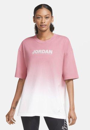 OVERSIZE TEE - T-shirt z nadrukiem - white/desert berry/black