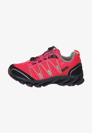 Hiking shoes - red fluo-silver
