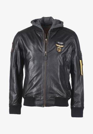MIT ABNEHMBARER KAPUZE  - Leather jacket - schwarz