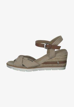 Sandalen met sleehak - beige navy