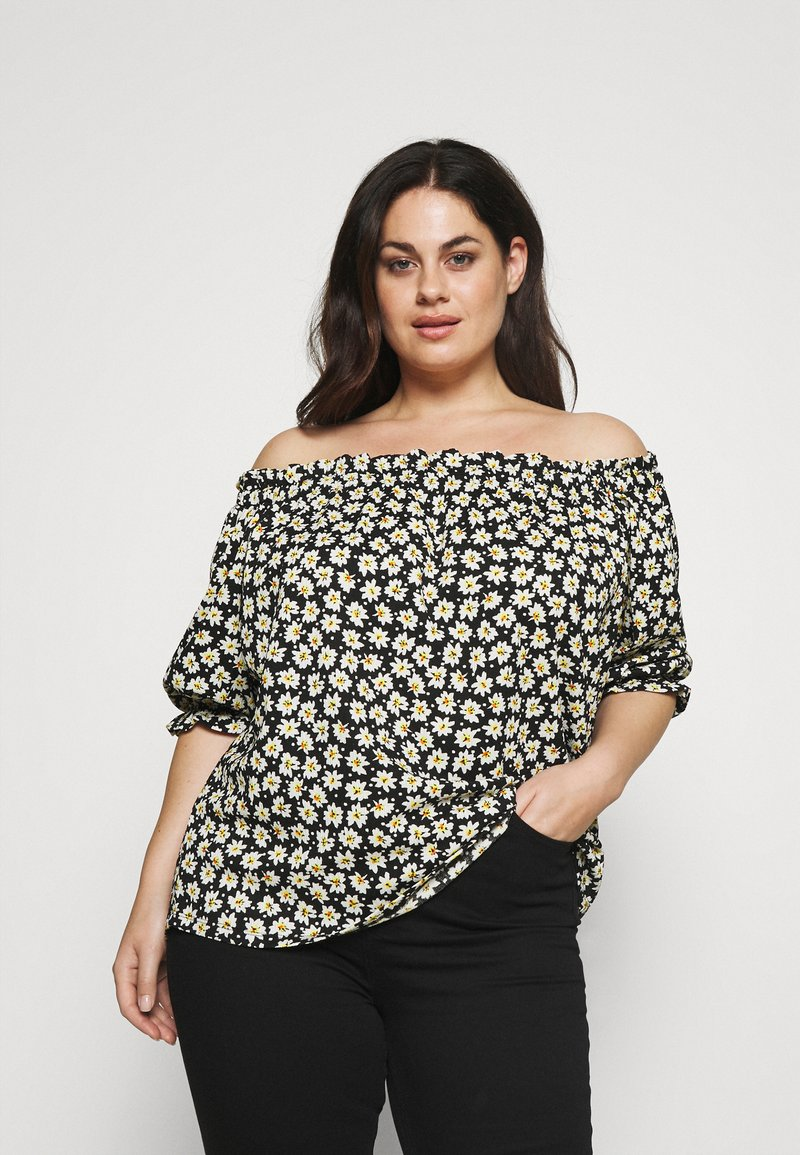 CAPSULE by Simply Be - OFF THE SHOULDER DAISY - Print T-shirt - black