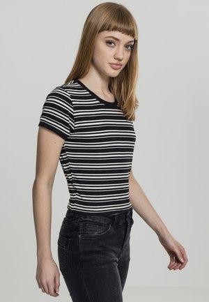 LADIES RIB SHORT TEE - Basic T-shirt - black/white