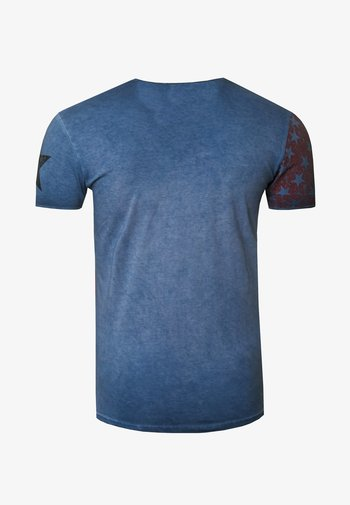 MIT V-NECK AUSSCHNITT - Print T-shirt - indigo