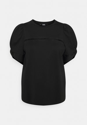 PUFFY SLEEVE EMBROIDERY - Basic T-shirt - black